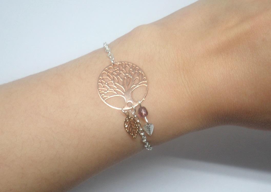 Bracelet arbre de vie feuilles et perles or rose gold argenté bijou en édition limitée par Odacassie les créations de Cassandre bijoux et accessoires faits main bijoux poétiques bohèmes romantiques