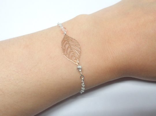 bracelet minimaliste feuilles perles estampes mariage cérémonie argenté rose gold rose