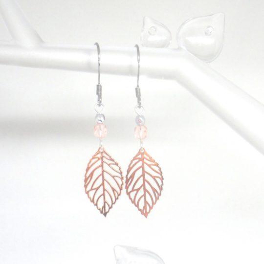 boucles d'oreilles minimalistes feuilles et perles estampes mariage cérémonie argenté rose gold rose