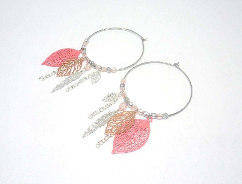 boucles d'oreilles créoles feuilles plumes attrape-rêves argenté rose