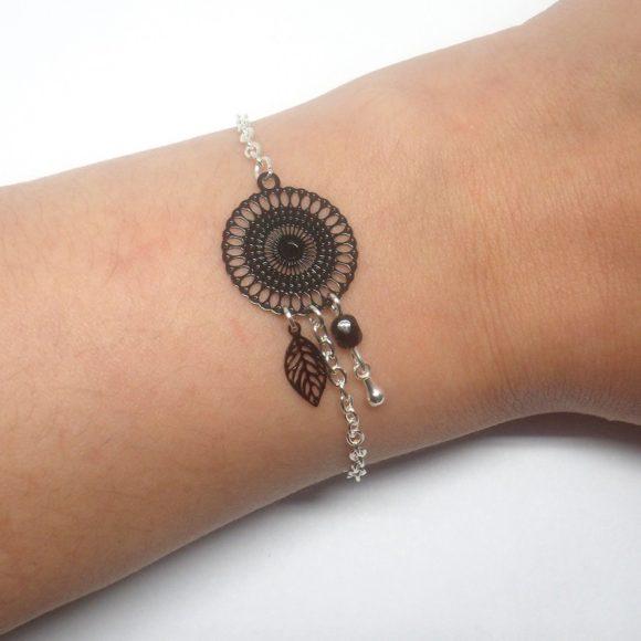 Bracelet noir argenté estampes rosace feuilles goutte perles