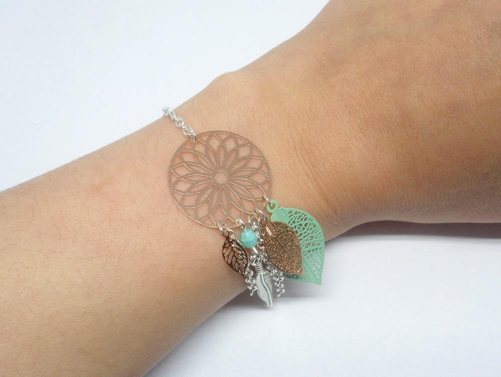 bracelet attrape-rêves dreamcatcher or rose gold argenté vert opale turquoise clair estampes plume perles