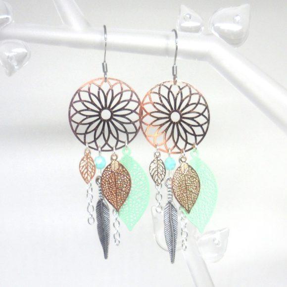 boucles d'oreilles attrape-rêves dreamcatcher or rose rose gold argenté vert opale turquoise clair estampes feuilles plumes perles
