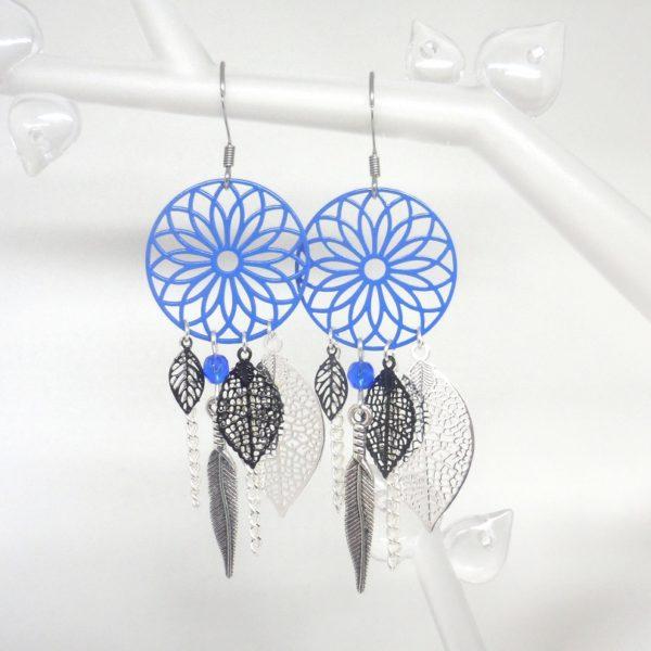 Boucles d 39 oreilles bleues noires attrape r ve dreamcatcher - Photo d attrape reve ...