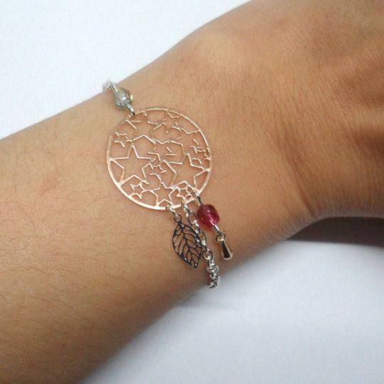 bracelet étoiles feuille goutte or rose gold fuchsia gris irisé argenté création Odacassie