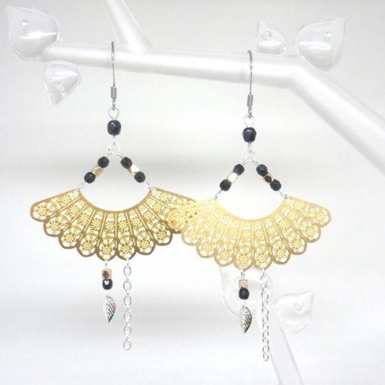 boucles d'oreilles éventails doré noir argenté japonisant asiatique estampes perles en verre de Bohême bijou édition limitée Odacassie