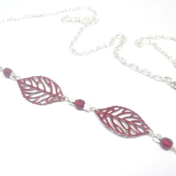 headband bordeaux et argenté estampes feuilles perles création édition limitée Odacassie