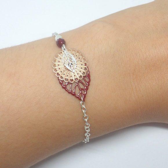 bracelet feuilles rosace bordeaux argenté or rose rose gold estampes création édition limitée Odacassie