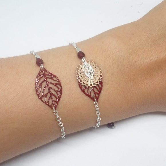duo de bracelets bordeaux argenté or rose rose gold estampes feuilles rosaces perles création édition limitée Odacassie