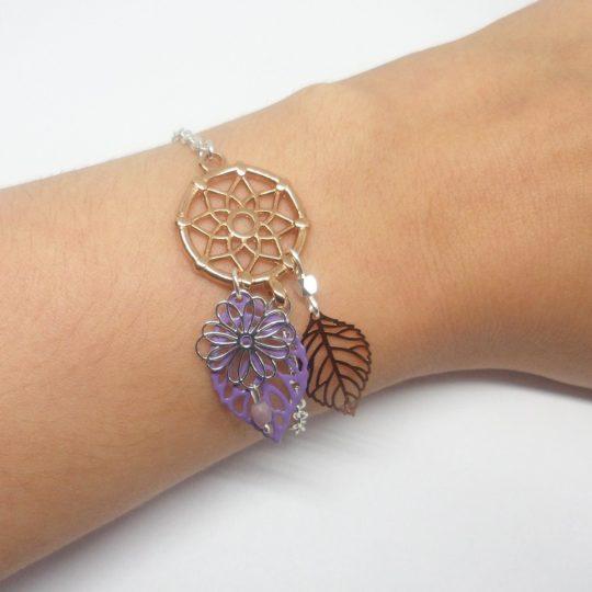 Bracelet attrape-rêve dreamcatcher bijou de tête feuilles fleur perles or rose rose gold argenté lilas mauve création édition limitée Odacassie
