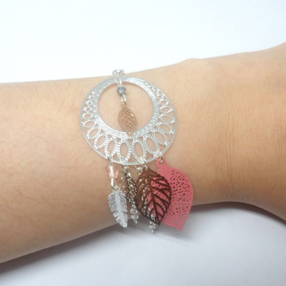 bracelet attrape-rêves mariage argenté rose