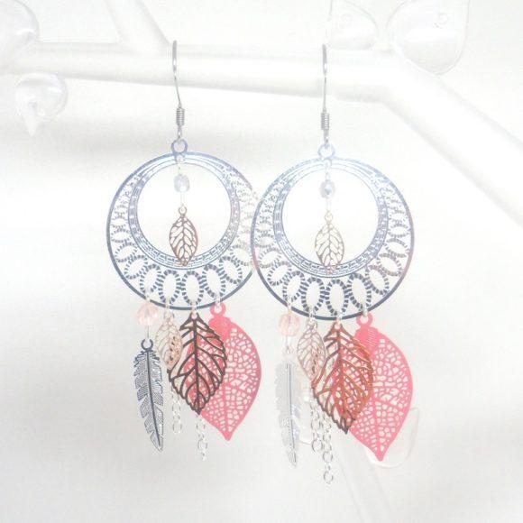 boucles d'oreilles attrape-rêves mariage argenté rose estampes