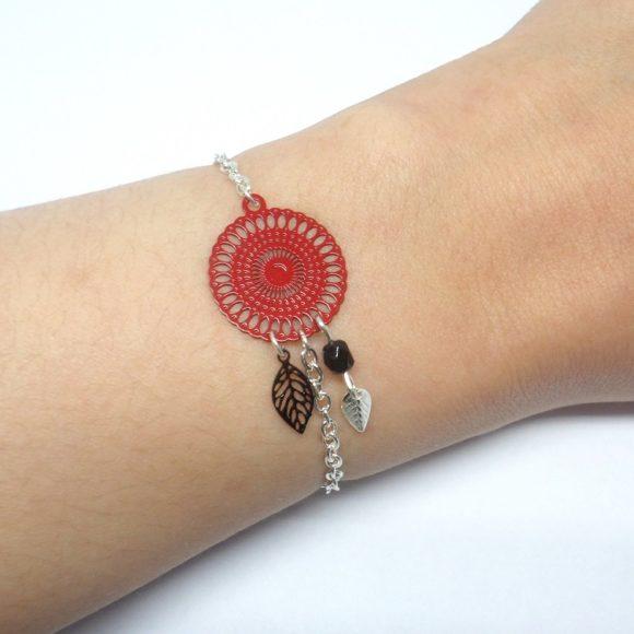 bracelet estampes rouge et noir