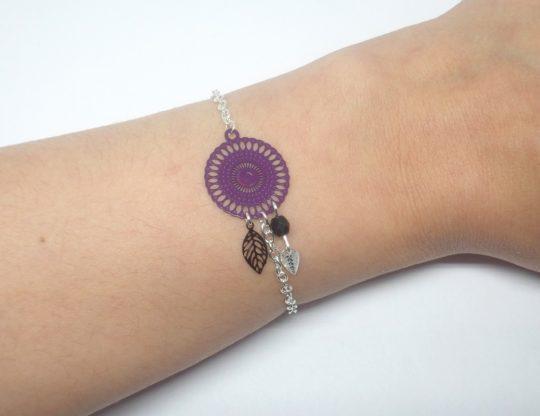bracelet rosace violet et noir