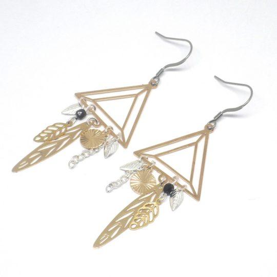boucles d'oreilles triangles graphiques estampes doré noir argenté feuilles pièce unique Odacassie