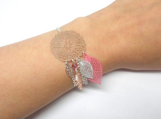 Bracelet rose gold argenté rose attrape-rêve dreamcatcher plume feuilles fleur création édition limitée Odacassie