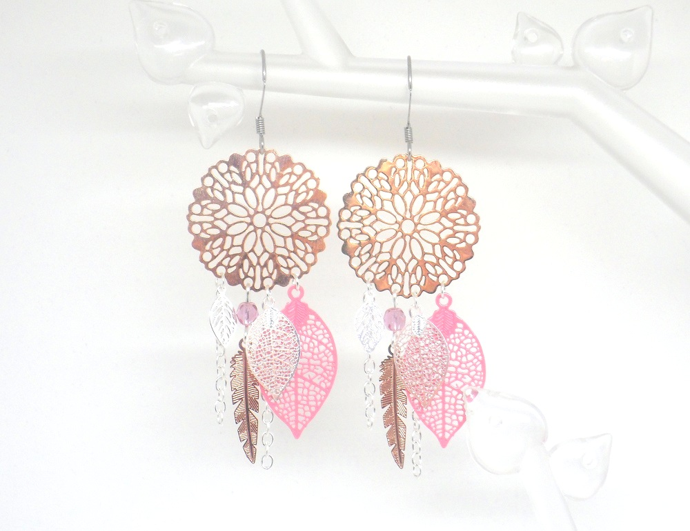 boucles d 39 oreilles rose gold argent rose attrape r ve dreamcatcher plume. Black Bedroom Furniture Sets. Home Design Ideas
