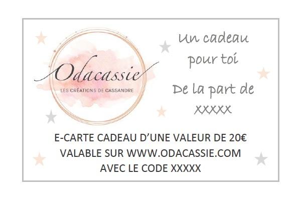 Carte cadeau bijoux et accessoires Odacassie 20 euros valable sur www.odacassie.com