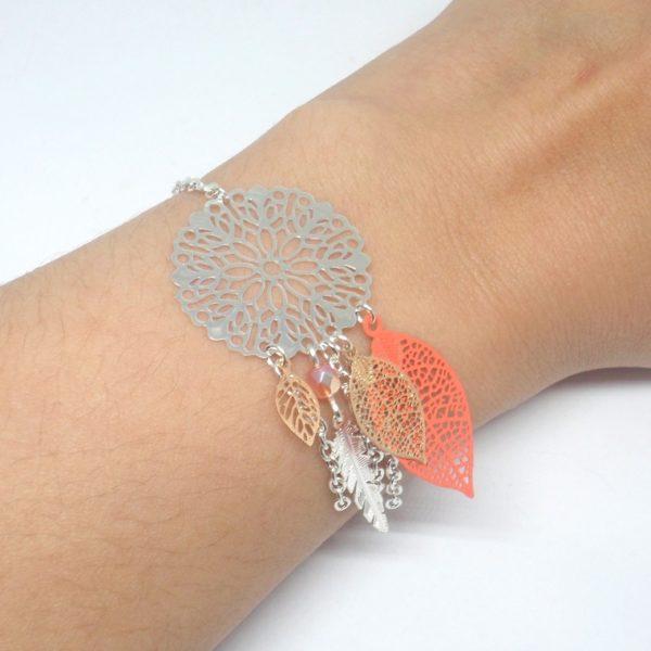Bracelet corail argenté or rose rose dreamcatcher attrape,rêves estampes  feuilles plumes perles en verre