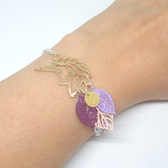 Bracelet licorne doré rose violet prune mauve lilas girly élégant tendance estampes feuilles perles en verre de Bohême édition limitée Odacassie bijoux et accessoires faits main