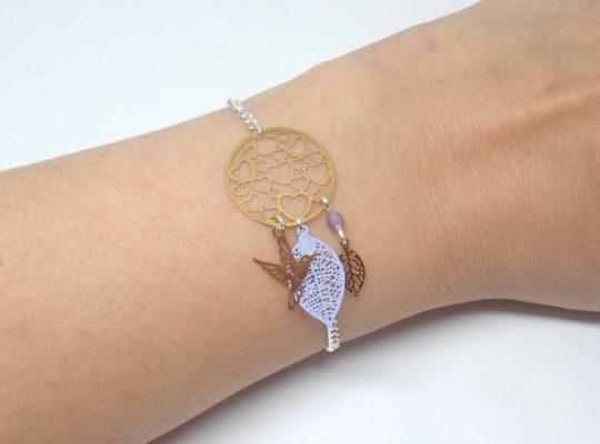 Bracelet Saint Valentin coeurs feuilles oiseau doré argenté mauve bleu lavande fines estampes édition très limitée par Odacassie les créations de Cassandre bijoux et accessoires faits main