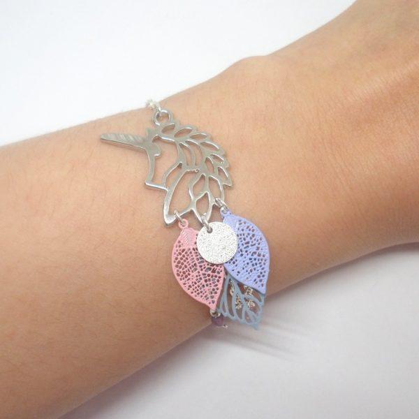 bracelet licorne argent rose bleu lavande feuilles perle paillettes girly chic. Black Bedroom Furniture Sets. Home Design Ideas