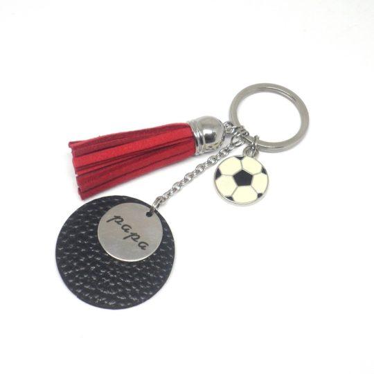 Porte-clef papa rouge noir argenté balon de foot acier inoxydable ancre marine suédine simili cuir idée cadeau fête des pères médaille personnalisable sur mesure
