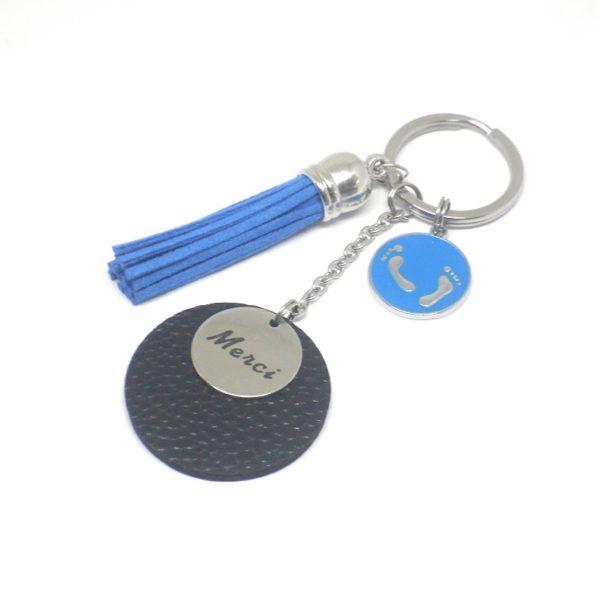 Porte-clé maître personnalisable argenté acier inoxydable ancre marine  suédine simili cuir idée cadeau fête b6f976997a6