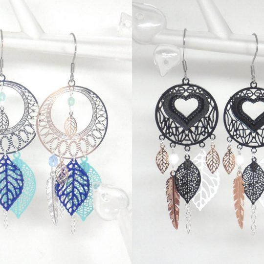 Boucles d'oreilles personnalisées esprit attrape-rêves estampes réalisées sur mesure par Odacassie les créations de Cassandre bijoux et accessoires faits main bijoux poétiques bohèmes romantiques