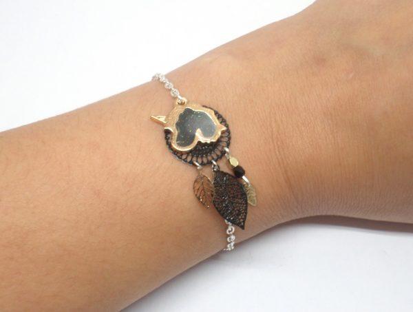 Bracelet licorne au choix noir rose ou violet esprit attrape-rêves doré feuilles perles rosace par Odacassie les créations de Cassandre bijoux et accessoires faits main bijoux poétiques bijoux bohèmes bijoux romantiques