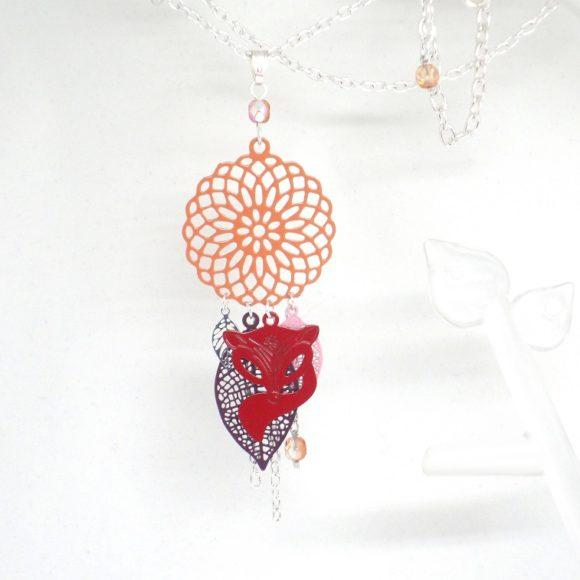 Sautoir renard couleurs automnales fines estampes rouge ocre violet rose beige orange long collier attrape-rêves dreamcatcher par Odacassie les créations de Cassandre bijoux et accessoires faits main bijoux poétiques bijoux bohèmes bijoux romantiques