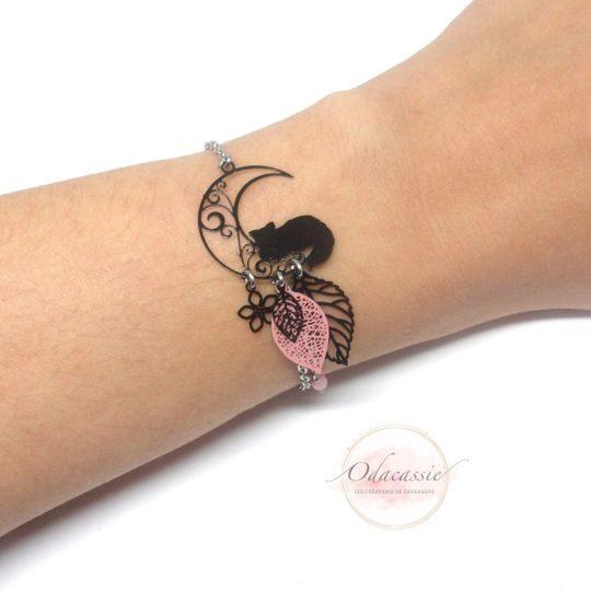 Bracelet chat sur la lune feuilles fleur rose noir acier inox par Odacassie