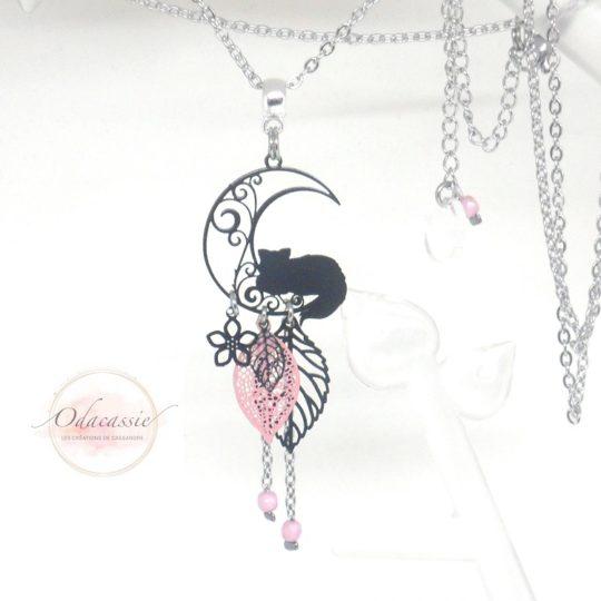 Sautoir chat sur la lune feuille fleur noir rose acier inoxydable par Odacassie
