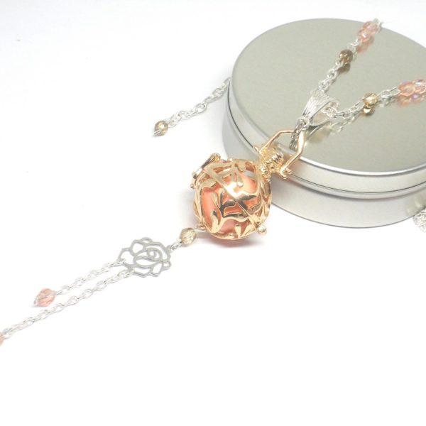 Collier De Grossesse Dore Rose Argente Fleur Cage Feuillage Arabesques