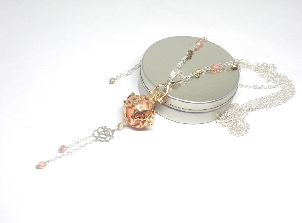 collier de grossesse dor rose argent fleur cage. Black Bedroom Furniture Sets. Home Design Ideas