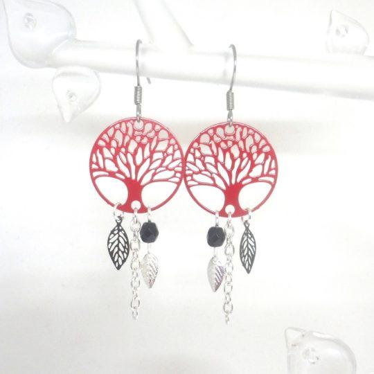 Boucles d'oreilles arbres de vie rouges Odacassie
