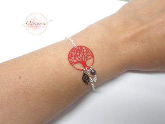 Bracelet arbre de vie rouge Odacassie