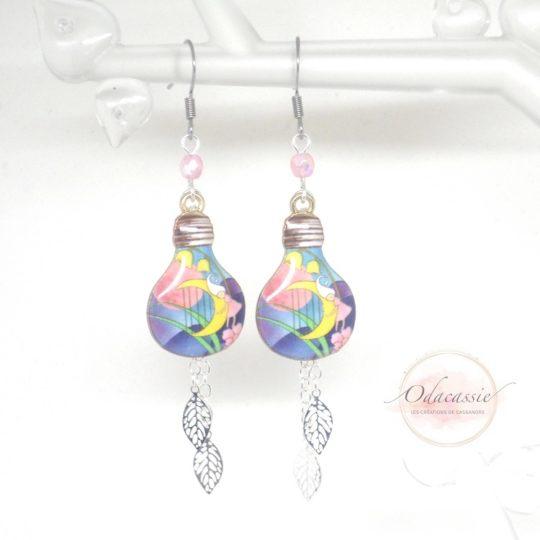 Boucles d'oreilles conte de fées lutins ampoules électriques par Odacassie