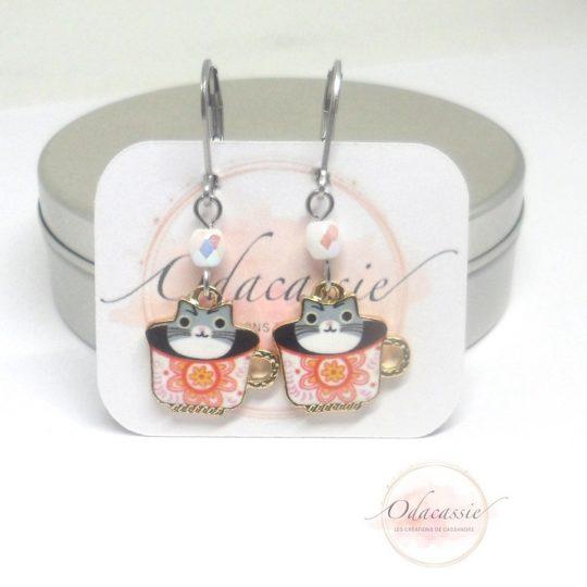 Boucles d'oreilles collection enfant chats tasses fleuries par Odacassie