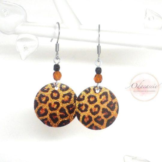 Boucles d'oreilles léopard boucles pailletées par Odacassie