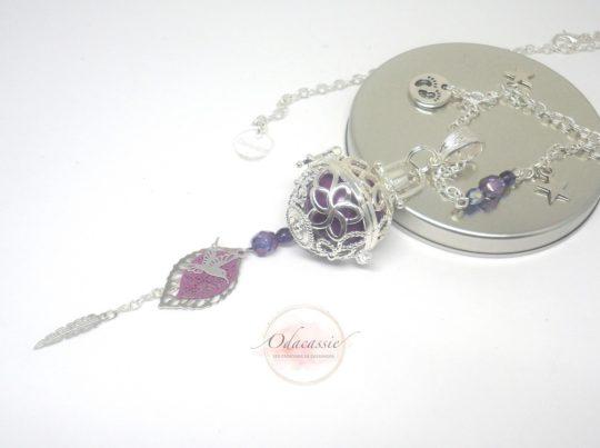 Bola musical violet fleurs de tiaré colibri feuilles plume bola de grossesse Odacassie
