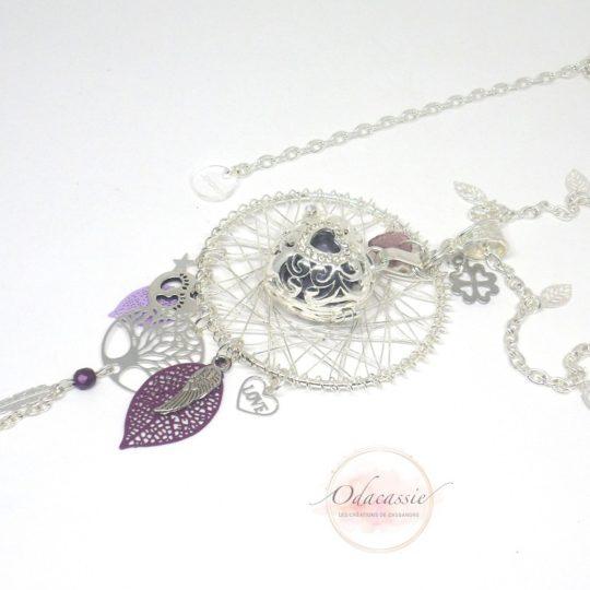 Bola violet argenté avec cage coeur aile d'ange arbre de vie par Odacassie