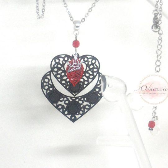 Collier double cœur noir rouge argenté cadeau Saint-Valentin par Odacassie