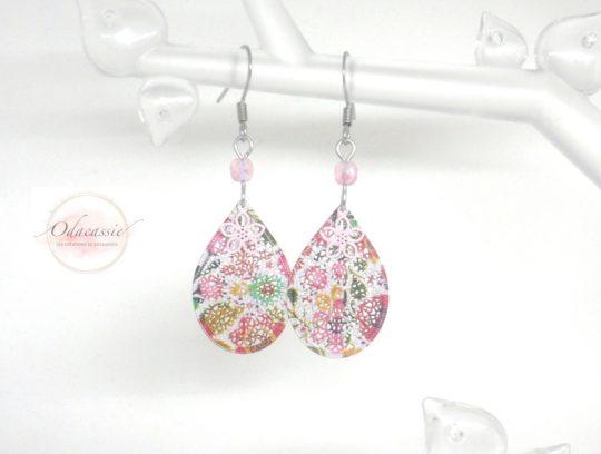 Boucles d'oreilles petites gouttes fleuries fleurs perles acier inoxydable par Odacassie