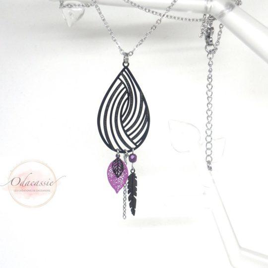 Collier goutte noire spirales feuilles plume perle violet acier inoxydable par Odacassie les créations de Cassandre
