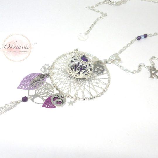 Bola argenté et violet mauve avec cage coeur aile d'ange arbre de vie par Odacassie