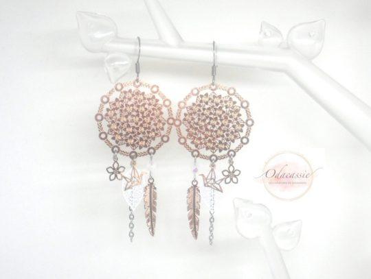 Boucles d'oreilles dreamcatcher blanc or rose fines estampes acier inoxydable par Odacassie