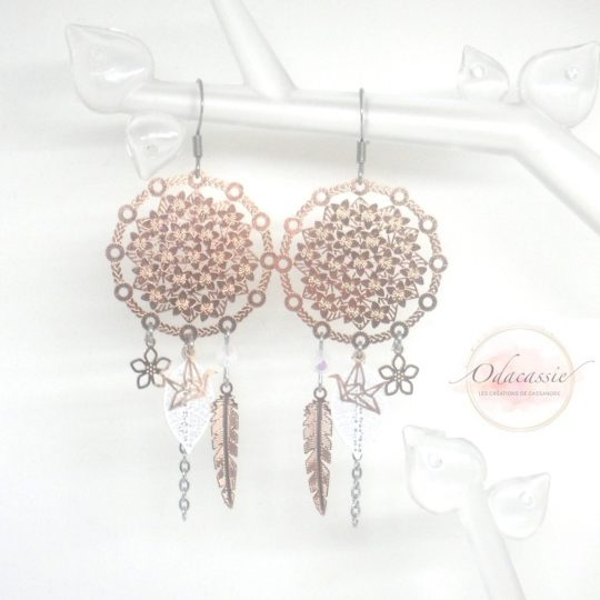 Boucles d'oreilles dreamcatcher blanc or rose fines estampes acier inoxydable par Odacassie
