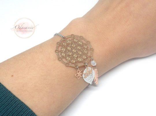 Bracelet dreamcatcher blanc or rose fines estampes acier inoxydable par Odacassie