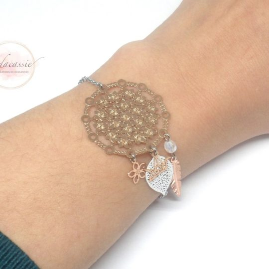 Bracelet dreamcatcher blanc or rose fines estampes acier inoxydable par Odacassie